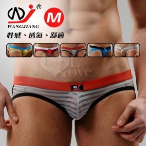 【網將WJ】條紋網紗半透明性感露臀造型褲﹝灰 M﹞