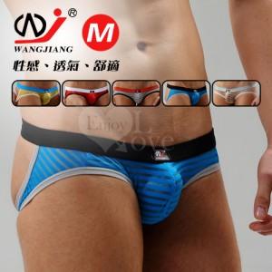 【網將WJ】條紋網紗半透明性感露臀造型褲﹝藍 M﹞