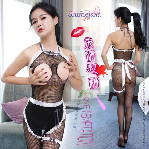 《SHIMEISHA》柔情慰藉!綁脖露乳開檔女傭連身網衣三件組