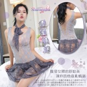 《SHIMEISHA》香閨情迷!誘人彈力花紋鏤空含圍巾裙裝網衣