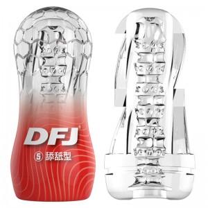 取悅 DFJ水晶透明飛機杯 男用自慰器 持久訓練器 柔軟吮吸顆粒軟膠 成人情趣用品(舔舐型-紅色)