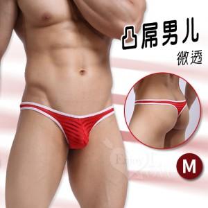 【凸屌男兒】條紋拼接亮絲微透低腰T字褲﹝紅 M﹞