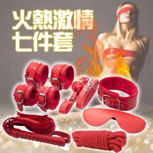 SM絨毛情趣 7件套(眼罩+口塞+鞭子+手銬+腳銬+脖圍+棉繩) 紅色