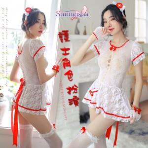 《SHIMEISHA》護士角色扮演網衣!鏤空蕾絲短裙五件式套裝