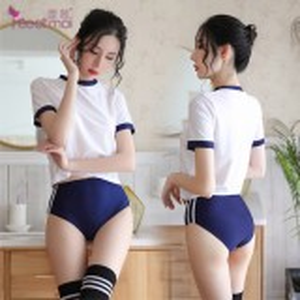 《FEE ET MOI》日系體操角色扮演服!拼色上衣包臀短褲三件組