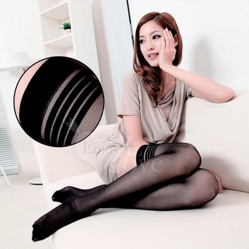 [漫朵拉]-fashion 超彈性透明性感長筒絲襪﹝黑色款﹞