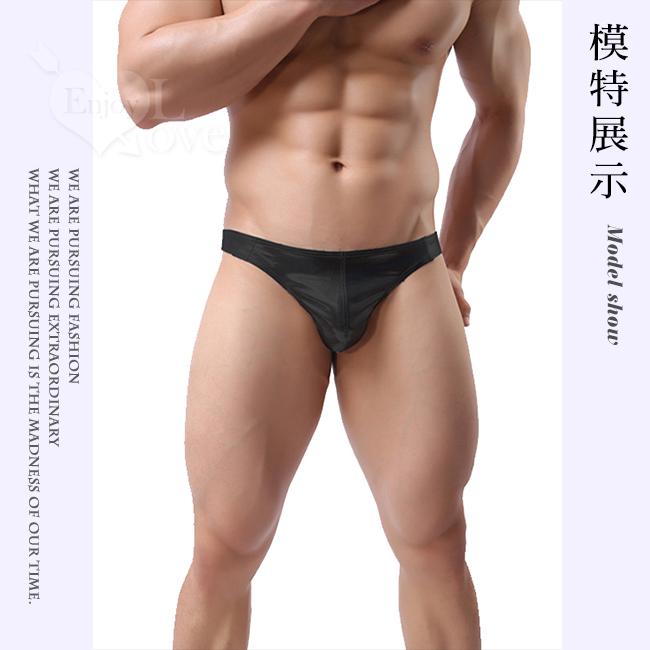 【MAN】個性純色性感漆皮T字褲 - 神秘黑﹝M﹞
