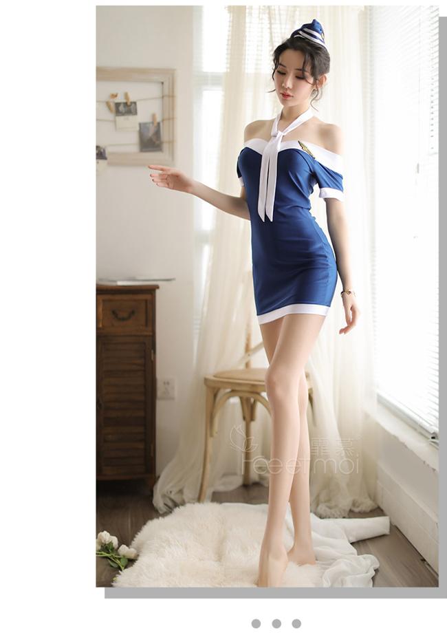 《FEE ET MOI》空姐角色扮演服!迷人鎖骨一字肩藍底白邊四件式套裝