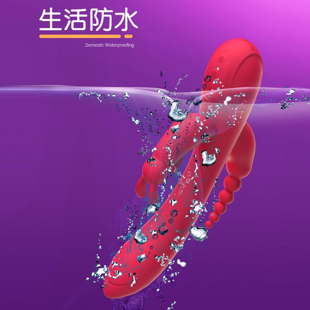 魔兔三叉12頻震動後庭電動按摩棒(玫紅色)