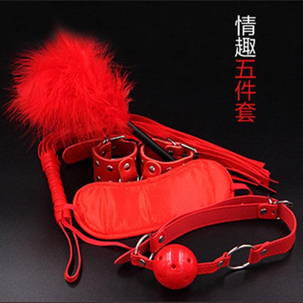 SM捆綁束縛情趣五件套組(眼罩+手銬+口塞+羽毛棒+鞭子)紅色