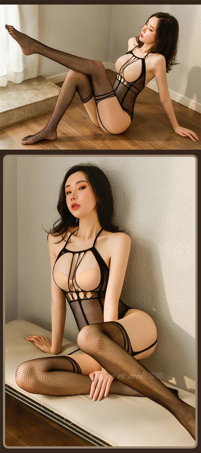 《FEE ET MOI》極性貓裝!挖空露乳修身黑線性感開襠吊襪連身網衣