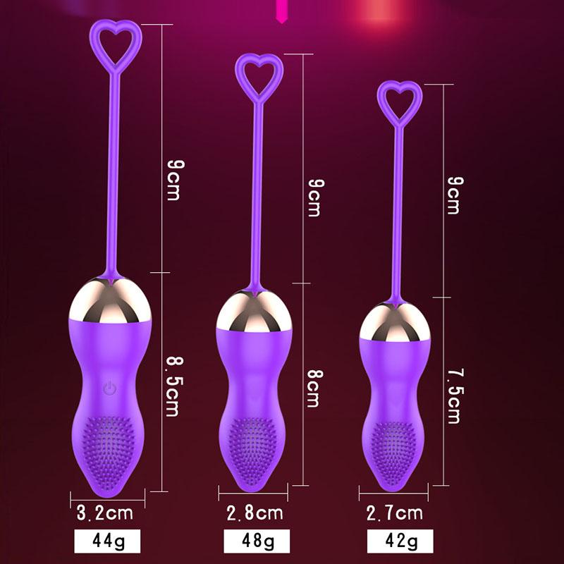 探花遙控15V跳蛋聰明球縮陰球陰道啞鈴震動棒3入(紫色)