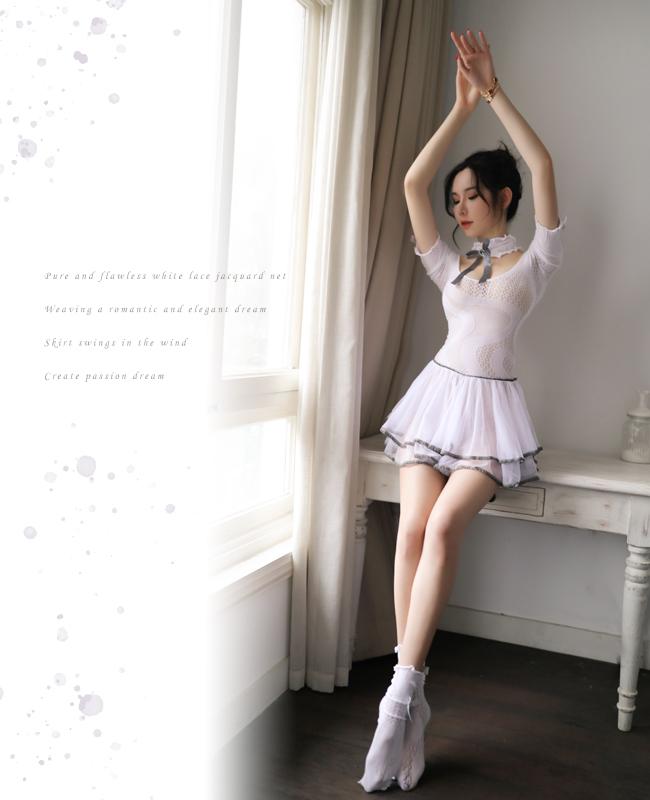 《FEE ET MOI》優雅連身網衣!甜美短袖蝴蝶結拼接紗裙三件組