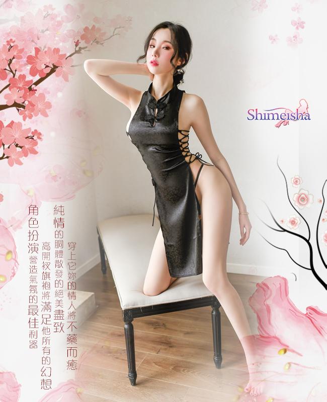 《SHIMEISHA》仿旗袍睡衣!復古兩側細綁帶高開衩鏤空兩件組﹝黑﹞