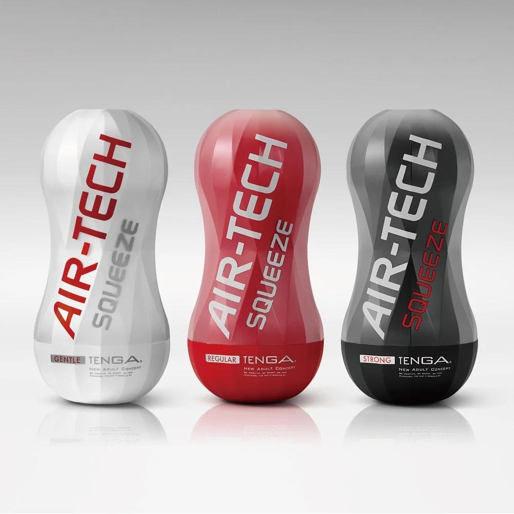 日本TENGA自慰器AIR-TECH Squeeze Strong軟殼增壓重覆使用飛機杯(堅毅黑)