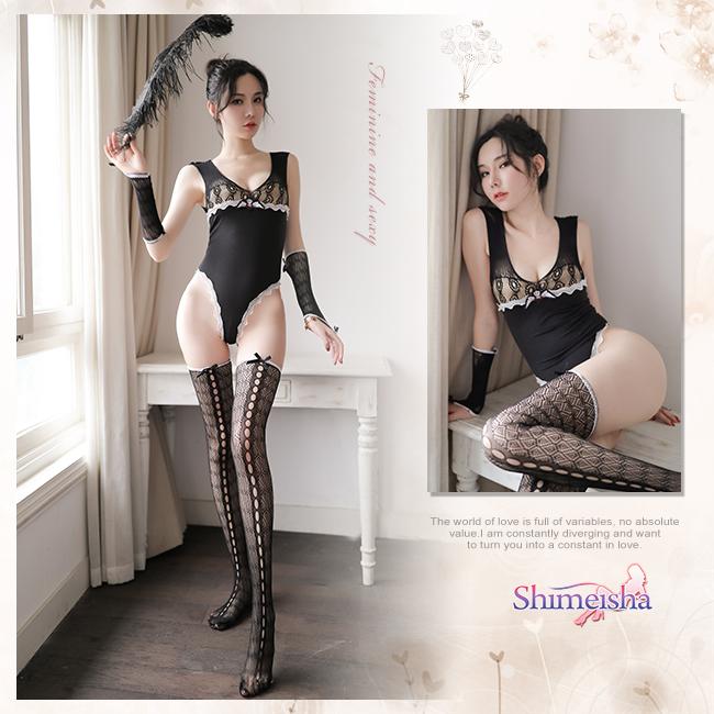 《SHIMEISHA》情趣連身衣!曲線高衩蕾絲滾邊三件組
