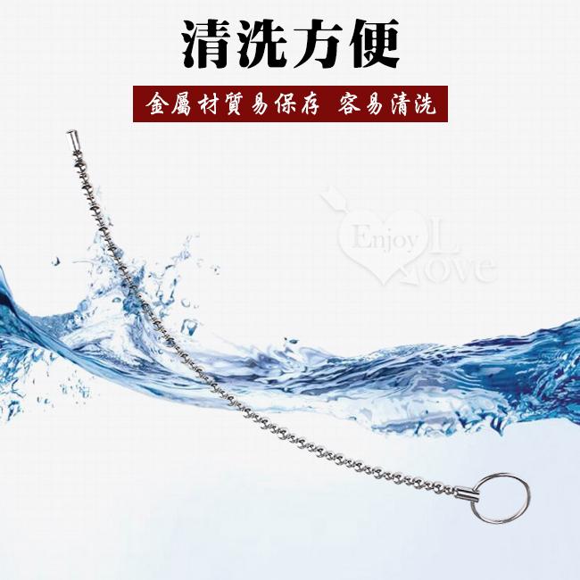 長珠條/可彎曲 金屬拉環光滑馬眼尿道擴張刺激棒﹝大號/直徑8mm﹞