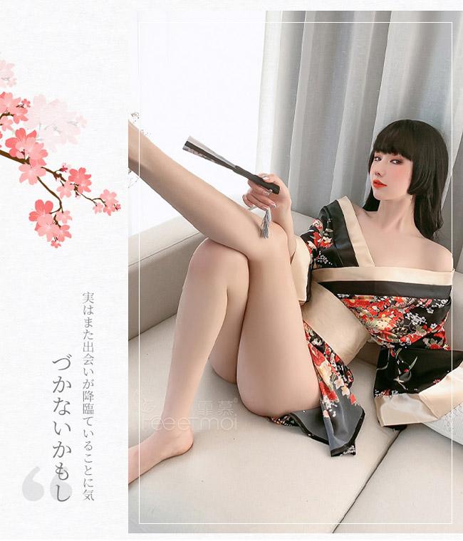 《FEE ET MOI》情趣和服!日系印花寬袖口大蝴蝶結腰封三件組